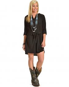 Miss Me Black 3/4 Sleeve Shirt Dress