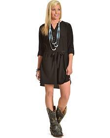 Miss Me Black 3/4 Sleeve Shirt Dress