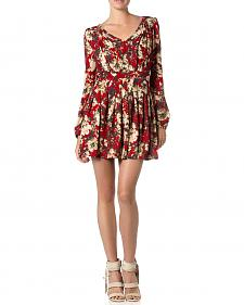 Miss Me Red Floral Print Pleated Dress