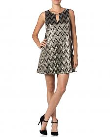 Miss Me Silver and Black Zig-Zag Sequin Dress
