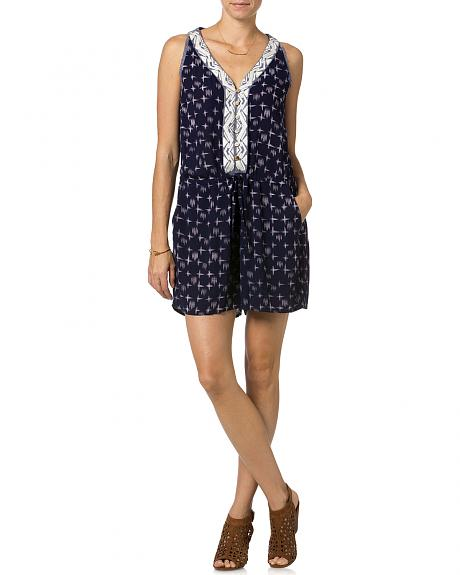 Miss Me Navy Embroidered Sleeveless Romper