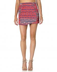 Miss Me Multi-Color Jacquard Front Zip Skirt