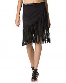 Miss Me Wrap-Around Black Fringe Skirt