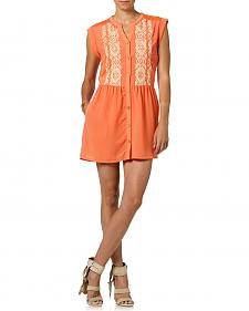 Miss Me Orange Button Down Sleeveless Dress