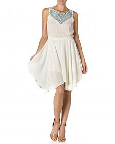 Miss Me Ivory Sleeveless Embroidered Dress