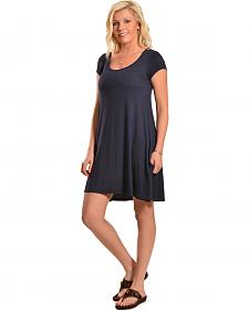 Derek Heart Women's Navy Cap Sleeve Scoop Neck Trapeze Dress