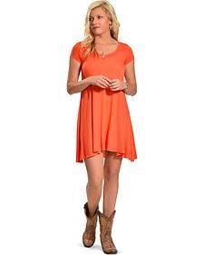 Derek Heart Women's Orange Cap Sleeve Scoop Neck Trapeze Dress