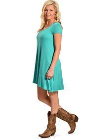 Derek Heart Women's Turquois Cap Sleeve Scoop Neck Trapeze Dress