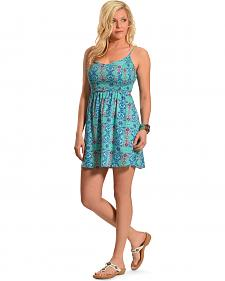 Derek Heart Mint Print Open Back Smock Dress