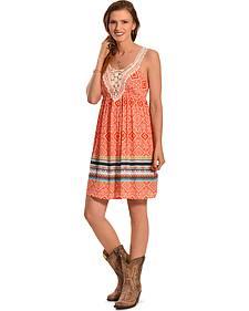Derek Heart Women's Orange Print Border Crochet Dress