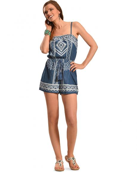 Derek Heart Women's Denim Engineer Print Romper
