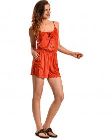 Derek Heart Women's Orange Faux Suede Romper
