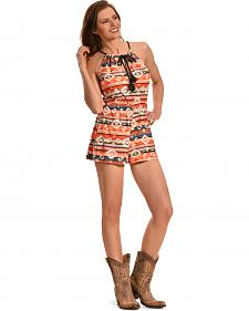 Derek Heart Women's Orange and Cream Print Rope Tie Romper