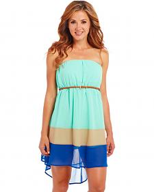 Cowgirl Up Strapless Blue Block Dress
