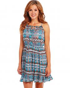 Cowgirl Up Blue Zig Zag Dress