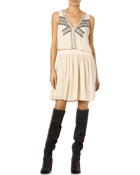 Miss Me Sleeveless Embroidered Taupe and Black Dress