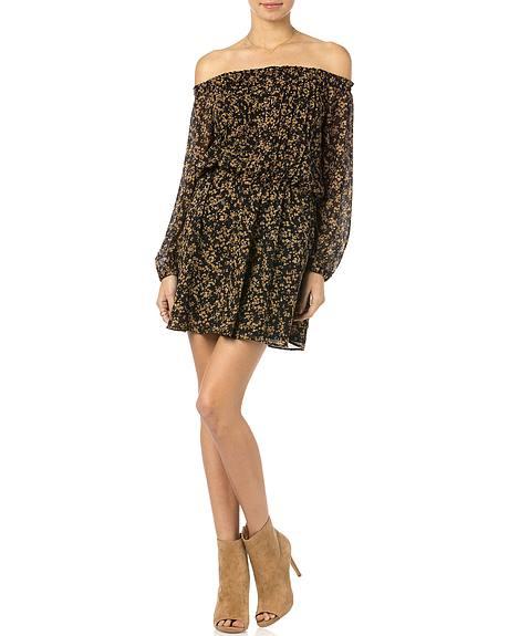 Miss Me Black and Gold Floral Off Shoulder Dress