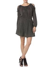 Miss Me Charcoal Open Shoulder Jersey Dress