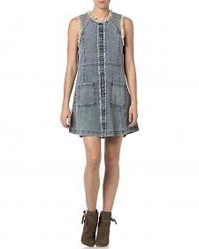 Miss Me Frayed Denim Sleeveless Dress