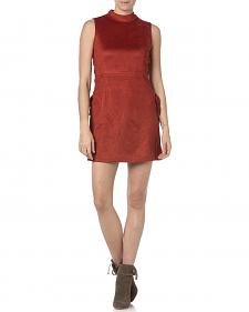 Miss Me Rust Sleeveless Faux Suede Dress