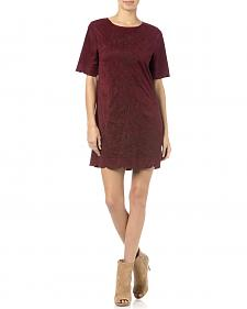 Miss Me Red Wine Crewneck Dress