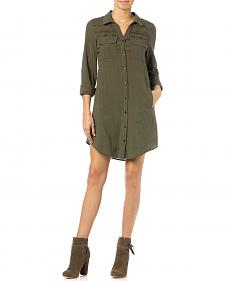 Miss Me Olive Embroidered Shirt Dress