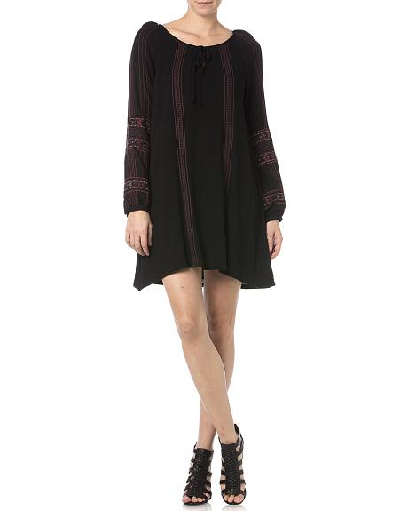 Miss Me Black Embroidered Peasant Dress