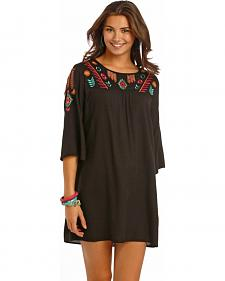 Rock and Roll Cowgirl Black Shift Flare Sleeve Dress