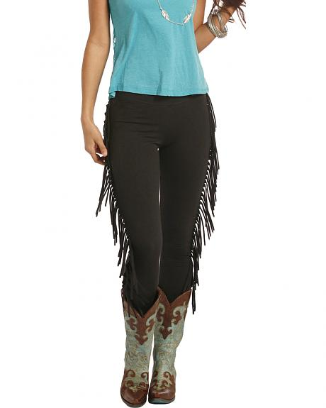 Rock and Roll Cowgirl Black Fringe Leggings