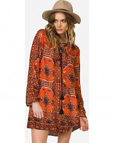 Miss Me Women's Rust Long Sleeve Printed Tie-Front Swing Dress