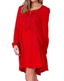 Miss Me Women's Red Peasant Dress