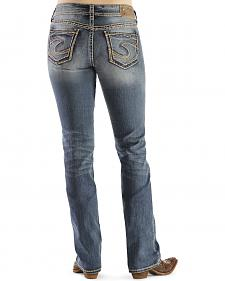 "Silver Mid-Rise Suki Bootcut Jeans - 33"" Inseam"