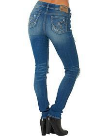 Silver Women's Suki Rip Torn Mid Skinny Jeans