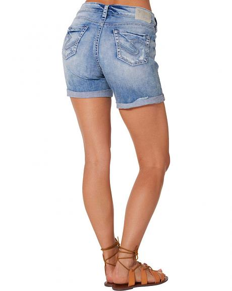 Silver Women's Boyfriend Denim Shorts