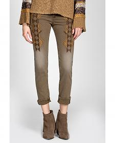 MM Vintage by Miss Me Brown Embroidered Jeans - Skinny Leg