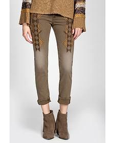 Miss Me Vintage Brown Embroidered Jeans - Skinny Leg