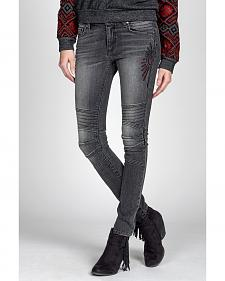 MM Vintage by Miss Me Black Moto Embroidered Jeans - Skinny Leg