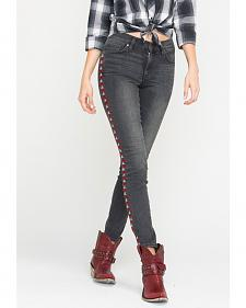 Miss Me Vintage Women's Black Southwestern Side Skinny Jeans
