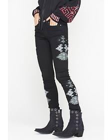 Miss Me Vintage Women's Black Southwestern Skinny Jeans