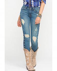 Miss Me Vintage Embroidered Distressed Skinny Jeans