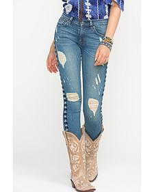 Miss Me Vintage Embroidered Distressed Skinny Jeans