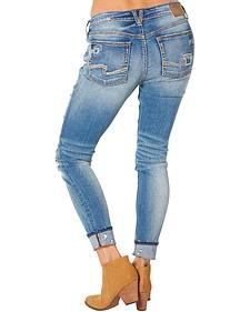 Silver Women's Girlfriend Mid Ankle Skinny Jeans