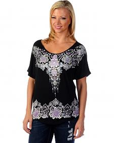 Liberty Wear Women's Floral Rhinestone Studded Top