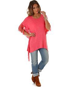 Wrangler Women's Pink Fringe Top