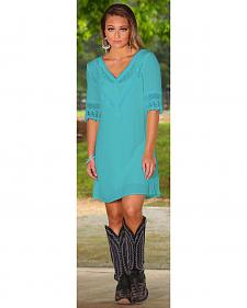 Wrangler Women's Turquoise Crochet Neck and Sleeves Dress