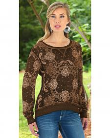 Wrangler Women's Brown Bandana Printed Sweater Top