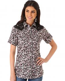 Wrangler Women's Multi Lace Yoke Short Sleeve Shirt