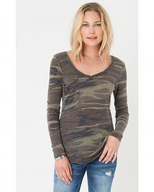 Z Supply Women's Camo Long Sleeve Pocket Tee