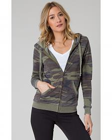 Z Supply Women's Green Camo Zip Hoodie