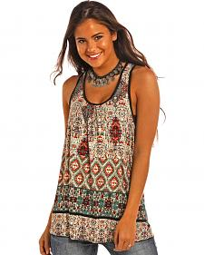 Panhandle Slim Women's Teal Tribal Print Red Label Clubwear Top